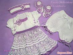 """Комплект для малышки """"Райские бабочки"""" Платье, болеро, штанишки, пинетки, повязка. - Вязание для детей - Страна Мам"""