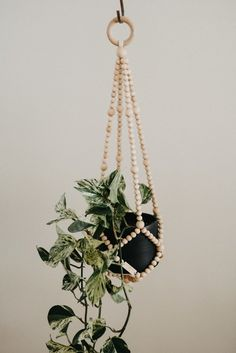 PLANT HANGER Medium : Our wooden bead plant hangers are for the plant lady, or gentleman, in your life. Our minimal, modern design fits into any decor style and perfectly accentuates your greens. ______________ Made by hand with Canadian Maple wood beads Diy Hanging Planter, Planter Ideas, Creation Deco, Bathroom Plants, Ideas Geniales, Wooden Beads, Indoor Plants, Air Plants, House Plants