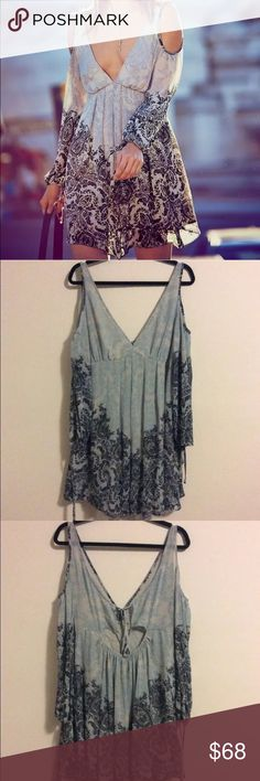 FREE PEOPLE Penny Lover Cold Shoulder Dress Blue/Gray, new without tags. * inner tag cut to prevent store returns. Free People Dresses