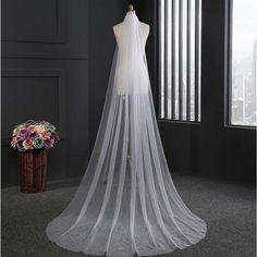Cheap 3 Meters Wedding Veil Tulle Bridal Veil 2017 New velos de novia Long Cathedral Bridal Veil Wedding Accessories
