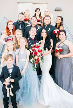 SO many amazing colors for this #bridalparty posing with the #brideandgroom  Photos by Clane Gessel Photography   #weddings