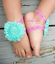 20%OFF .. Baby Barefoot Sandals .. Seafoam on Pink Lace .. Toddler Sandals .. Newborn Sandals