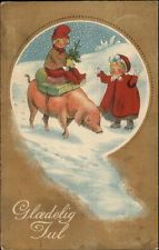 Danish New Year - Children Riding Pig c1910 Postcard