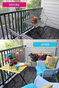 How to Decorate your Small patio: Before and After 2019 Small Patio Makeover: Before and After Tips and Tricks via Live Colorful The post How to Decorate your Small patio: Before and After 2019 appeared first on Patio Diy. Outdoor Patio Designs, Diy Patio, Outdoor Spaces, Patio Ideas, Porch Designs, Budget Patio, Pergola Patio, Backyard Patio, Backyard Ideas