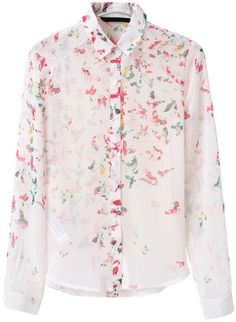 White Lapel Long Sleeve Butterfly Print Blouse US$21.87
