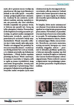 "Magazyn ""Literadar"" (listopad 2013 r.) - recenzja 'sPokolenia...', strona 109. http://andrzejte.pl/"