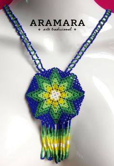 Lenght Earrings 2.5 inches (6.35 cms) Necklace 17.5 inches (44.45 cms) around the neck   The Huichol represent one of the few remaining indigenous cultures left in Mexico. They live in self-imposed isolation, having chosen long ago to make their home high in the mountains of the Sierra Madre
