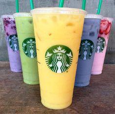 Squad goals! Starbucks Purple Drink, Green Drink, Orange Drink, Blue Drink and Pink Drink!
