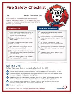 Your kids are home from school, but that doesn't mean they can't learn something new! Use this checklist to make sure your whole family knows the plan in case of a fire Safety Checklist, Kids Checklist, Earthquake Safety, Industrial Safety, Family Safety, School Safety, Fire Prevention, Fire Escape, Fire Signs