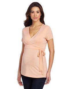 Ripe Maternity Women's Maternity and Nursing Ballet Wrap Shirt, Rockmelon, Small