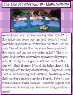 Tale of Peter Rabbit math story problems-- also check out her language arts activities!