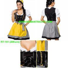 Dirndl Kleid. 100% Baumwolle Check Stoff Hochwertige Naht. Besuchen Sie uns: WWW.ROMANTRACHT.COM