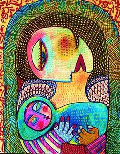 PRINT_Sandra Silberzweig Art_ Indigo Tapestry Angel Mother And Child, Guadalupe