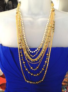 Hareem 2, Gold Plated Multi Layer Chain and glass beads,Long Statement Necklace