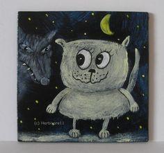 DER WOLF KOMMT von Herbivore11 Unikat Minibild Katze Wölfe Comic Inchie Kunst