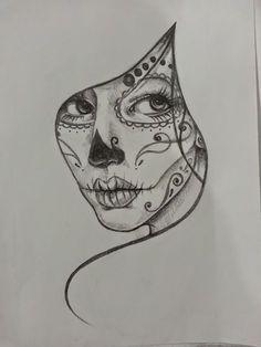 Resultado de imagem para mexican skull tattoo hip