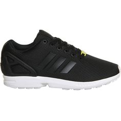 Adidas ZX Flux trainers (£64) ❤ liked on Polyvore featuring shoes, sneakers, 80s sneakers, adidas sneakers, black white shoes, adidas shoes and black and white shoes