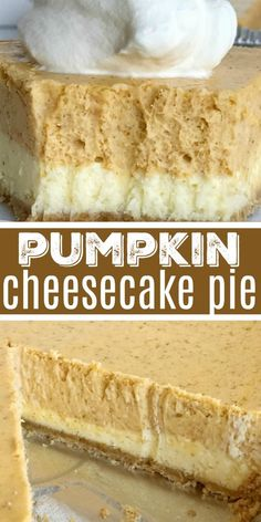 Double Layer Pumpkin Cheesecake Pie | Pumpkin Cheesecake | Pumpkin Dessert | Double layer pumpkin cheesecake pie has two layers of pumpkin cheesecake inside a convenient store-bought graham cracker crust. This is an easy cheesecake recipe that even beginners can make. Top with some fresh whipped cream for the ultimate Fall dessert or add it to your Thanksgiving dessert table. #pumpkin #pumpkinrecipes #pumpkinspice #cheesecake #dessert #easydessertrecipes #recipeoftheday #fallrecipes
