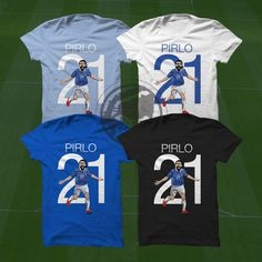 Pirlo T-Shirt - Italy Soccer Player - Size S to XXXL #soccer #wallart #decor #canvas #art #poster #graphicdesign #soccerart #football #futbol #etsy #g17 #graphics17