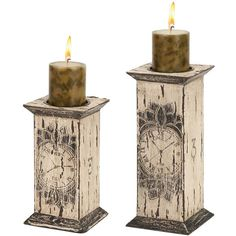 $29.50 {French Cottage} Distressed Wood Pillar Holder, Set Of 2 ~Enjoy one decor deal a day from WUSLU ~www.wuslu.com