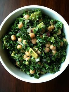 Chickpea/avocado/kale salad...this is literally my lunch every. single. day.