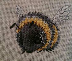 Cross stitch bumblebee (from pattern on Etsy by PatternNadGavr)