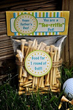 Tee-rrific Dad-Father's Day Gift. Cute, but could also make this a Halloween idea by calling the tees wooden stakes for tiny vampires. Ok, I'm a dork.