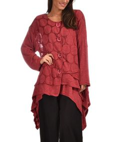 Loving this Raspberry Pink Dots Sidetail Cardigan - Plus on #zulily! #zulilyfinds