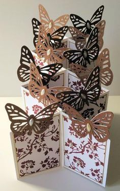 Butterfly Themed Cascade Card studio format on Craftsuprint - Add To Basket!