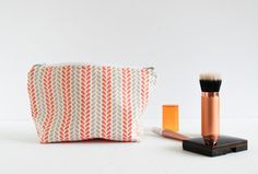 Coral and Grey Vine Print Cosmetic Bag  by ShannonFraserDesigns | Handmade | Makeup | Beauty