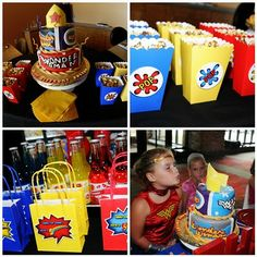 Wonder Woman Party: This site includes lots of great ideas that could be used for any super hero themed party. Batman Party, Superhero Birthday Party, 6th Birthday Parties, Girl Birthday, Birthday Ideas, Barbie Birthday, 35th Birthday, Wonder Woman Birthday, Wonder Woman Party