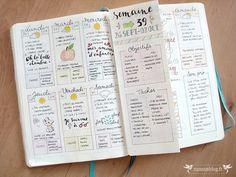 Mon semainier jusqu'à la troisième semaine d'Octobre : deux pages + un volet intermédiaire dépliable