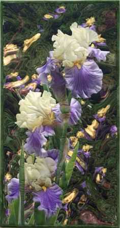 Iris Reflections art quilt by Barbara Barrick McKie Irises I grew in my garden are collaged with images of the same iris taken through a glass block.