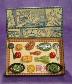 French Toy Paper Mache Food in Original Box. $200/400
