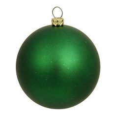 Felices Pascuas Collection Matte Green UV Resistant Commercial Shatterproof Christmas Ball Ornament 4 inch (100mm)