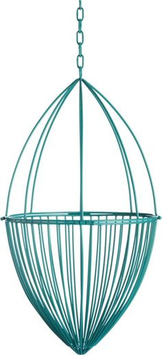 """<span class=""""copyHeader"""">hardwired.</span>Handcrafted of iron wire, hanging cage sculpture is powdercoated bright teal and welded into an airy home base for your favorite botanical. Complete the look with Sonny Large Grey Hanging Planter.<br /><br /><NEWTAG/><ul><li>Handmade</li><li>Iron wire with teal powdercoat finish</li><li>Indoor or outdoor use</li><li>Wipe with a soft, dry cloth</li></ul><br />"""