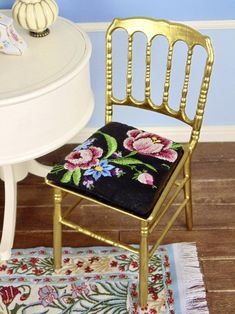 OOAK Barbie chair with petit point seat cushion Vanity Tray, Cushions, Seat Cushions, Foam Cushions, Plastic Molds, Club Chairs, Chair, Home Decor, Dining Chairs
