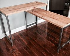 "The ""Versus"" L-Shaped Desk - Sit/Stand Desk Reclaimed Wood - Custom Lengths Home Office, Office Desk, Office Furniture, Office Paint, Man Office, Ikea Office, Basement Office, Pipe Furniture, Furniture Vintage"