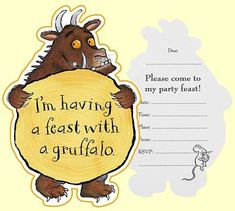 Gruffalo Party Invitations cards, pack of with envelopes. We have more Gruffalo party items and tableware available in our online shop. Gruffalo Party, The Gruffalo, 10th Birthday Parties, Birthday Party Decorations, 2nd Birthday, Themed Parties, Birthday Cakes, Invitation Card Birthday, Invitation Cards