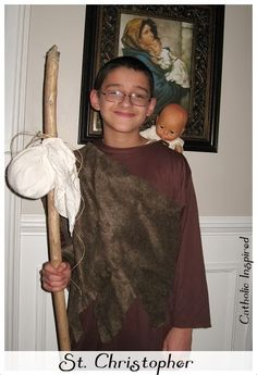 Here is Jacob dressed in his St. Christopher Costume.     There are several legends about St. Christopher including the one in which he ...