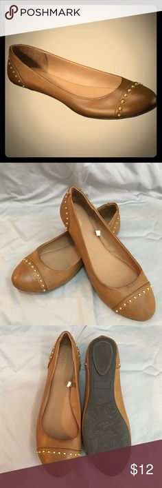 Tan, Gold-Studded Ballet Flats Like new, size 8.5, Tan ballet flats with gold stud detailing at the toe and heel, super cute just never wore them because have other shoes that are too similar Merona Shoes Flats & Loafers