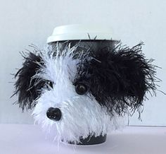 Shih Tzu puppy dog mug and coffee cup cozy crochet pattern.  Here's what to do with that eyelash yarn leftovers!