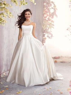 Ball Gown Sweetheart Elastic Woven Satin Court Train Sashes / Ribbons Wedding Dresses at Millybridal.com