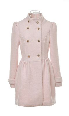 Stand-up collar double-breasted coat woolen coat