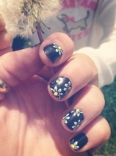 cut hipster black white and yellow daisy nail design for spring for more beauty posts follow jcmurawski on Instagram!! thank you!!