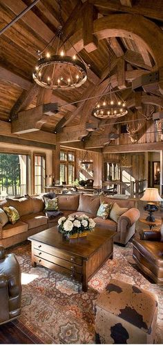 Massive, permanent, open and comfortable.  At the same time, the wood gives this room an intimate feeling.