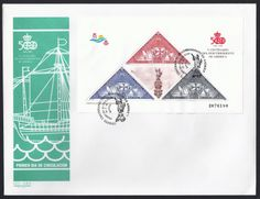 Spain Scott First Day Cover #‎B194 (31 Mar 1992) Souvenir Sheet of Columbus' ships + label of the statue of Christopher Columbus (Colón, Colombo): Semi-postal stamps similar in design to the1930 triangle stamps showing the Santa María, Niña and Pinta. The label in the center of the Souvenir Sheet is the Columbus statue in Barcelona, Spain. The pictorial cancellation also shows the statue. This S/S commemorates the 500th Anniversary of the Discovery of America.