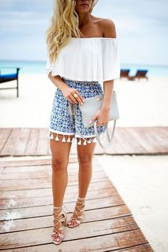 off-shoulder-ruffle-top-tassel-shorts-resort-outfit-cancun-beach-style - Cancun outfits - Beach Outfits Women Vacation, Mexico Vacation Outfits, Outfits For Mexico, Cute Beach Outfits, Honeymoon Outfits, Outfit Beach, Beach Wear For Women Outfits, Vacation Wear, Cancun Outfits