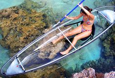 $1475 Transparent Canoe Kayak: Imagine rowing across the lake or sitting peacefully out in the middle somewhere and watching a school of fish pass right underneath you.