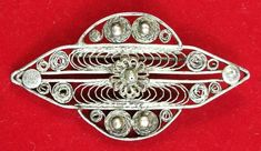 Vintage Filigree Brooch Handmade Silver Plated Pin Silvered Early Fabulous Retro #Handmade